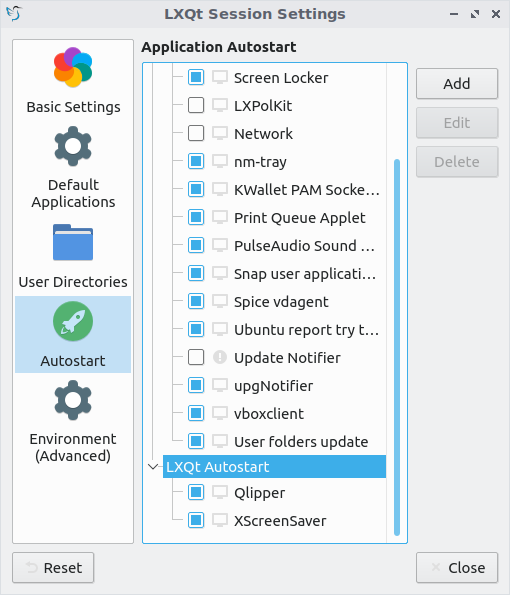 LXQt Autostart menu of Session Settings window