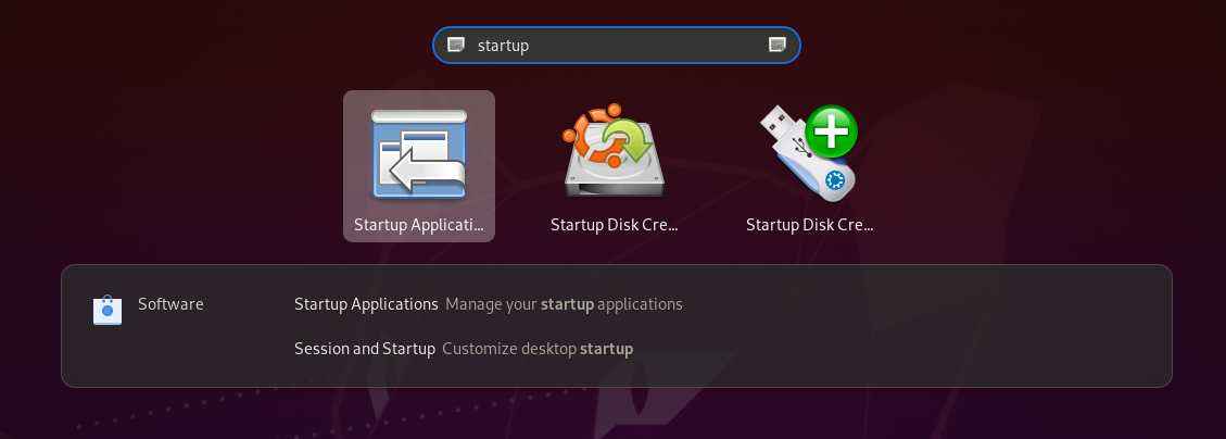 GNOME Keyboard Step 2: Search for Startup Applications